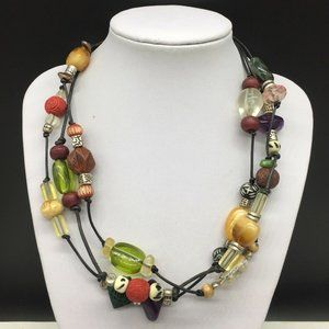 Chico's Black Leather Colorful Beaded Necklace